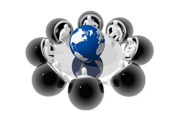 Reunión alrededor de bola del mundo