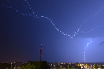 Lightning threatens telecommunitations tower