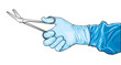 Surgeon's hand with bandage scissors