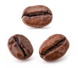 Coffee beans, macro, isolated on white, with clipping paths