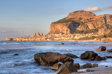 Cefalu rock and historical town