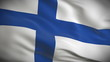 Highly detailed Finnish flag ripples in the wind. Looped