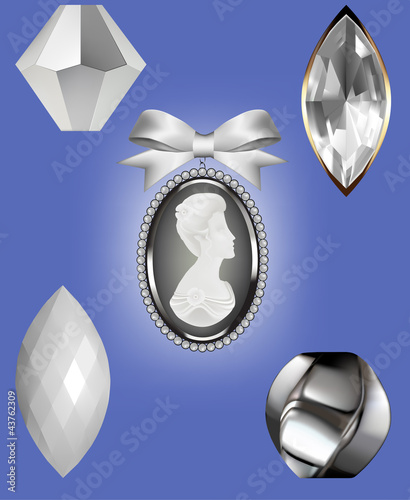 Ivory Beads, gem and cameo vector illustrations