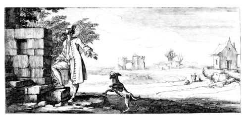 Young Man & Dog - Scene 17th century