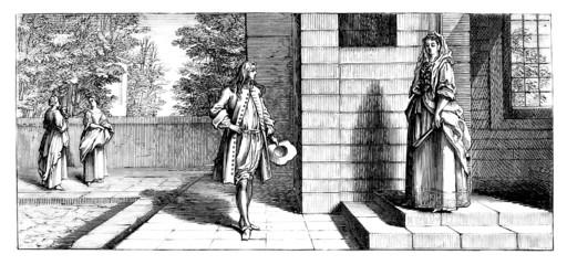 Aristocratic Lovers - Scene 17th century