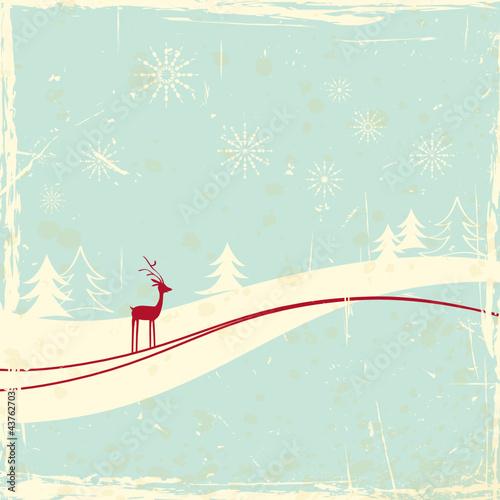 reindeer in winter landscape