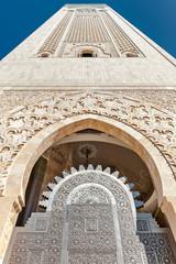 Entrance gate Hassan II Mosque minaret Casablanca Morocco