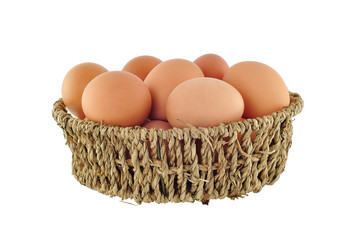brown eggs in basket
