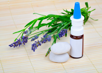 Lavender herb flower leaf springs with an aromatherapy essential