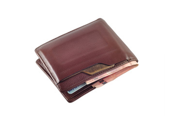 Wallet with baht isolated on a white background