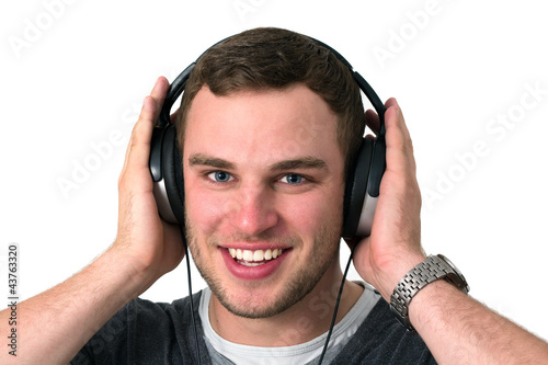 Close Up of Face of young man listening to music