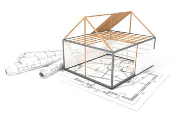 Grundgerüst Einfamilienhaus auf Bauplänen