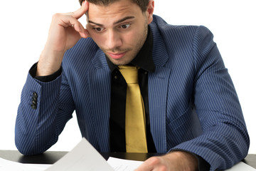 Young stressed overwhelmed businessman