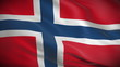 Highly detailed Norwegian flag ripples in the wind. Looped