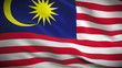 Highly detailed Malaysian flag ripples in the wind. Looped