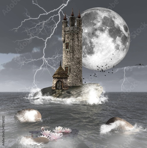 Fantasy seascape with a dark tower