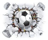 Fototapety Soccer ball and Old Plaster wall damage. Vector illustration