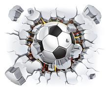Ballon de football et ancien lésions de la paroi en plâtre. Vector illustration