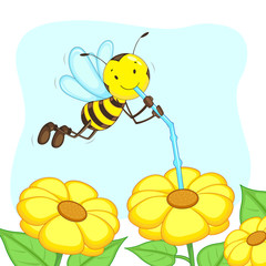 vector illustration of happy bee sucking honey from flower