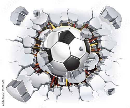 Zdjęcia na płótnie, fototapety, obrazy : Soccer ball and Old Plaster wall damage. Vector illustration