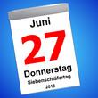 Leinwandbild Motiv Kalender auf blau - 27.06.2013 - Siebenschläfer