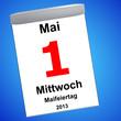 Leinwandbild Motiv Kalender auf blau - 01.05.2013 - Maifeiertag