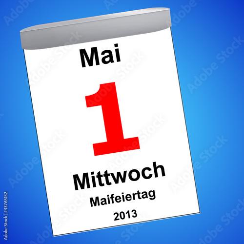 Kalender auf blau - 01.05.2013 - Maifeiertag - 43765152