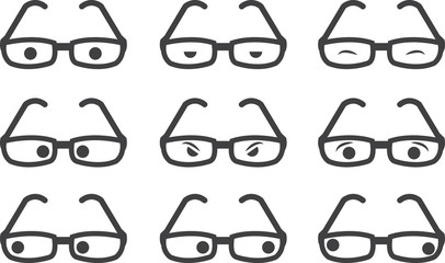 Plastic framed glasses with various eyed expressions