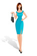 vector illustration of lady standing with handbag