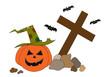 Halloween pumpkin and bats on graveyard.