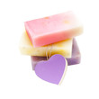 Soap bars with natural ingredients isolated
