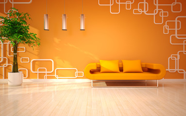 modern living room with orange sofa
