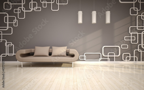 modern living room with beige sofa
