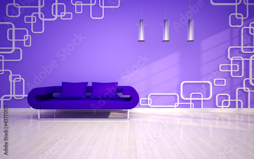 modern living room with violet sofa