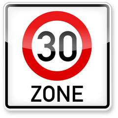 Tempo Zone 30 Verkehrsschild (3D)