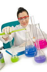 Female chemist in studio on white