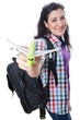 Girl preparing to travel for vacation