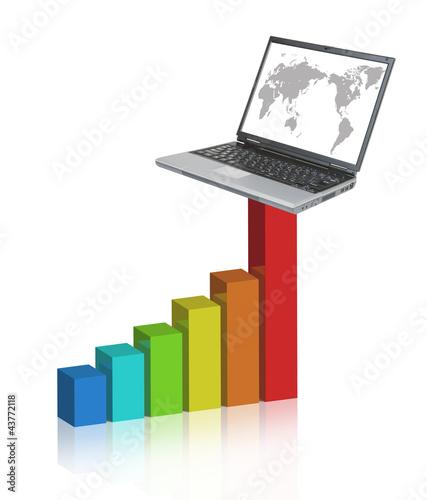 棒グラフとパソコン