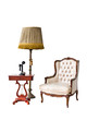 vintage armchair and telephone isolated with clipping path
