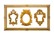 collection of golden sculpture frame isolated with clipping path