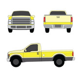 Pick-up truck yellow three sides view vector illustration