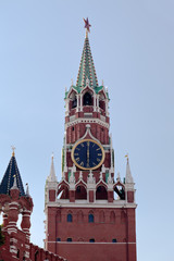 Spasskaya Tower of Kremlin or Red Square in Moscow