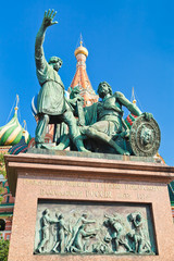 Monument to Minin and Pozharsky with Pokrovsky Cathedral in Mosc