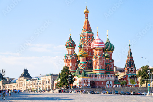 Foto op Canvas Oost Europa Red Square with Vasilevsky descent in Moscow