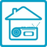 blue symbol with voice recorder and house silhouette poster