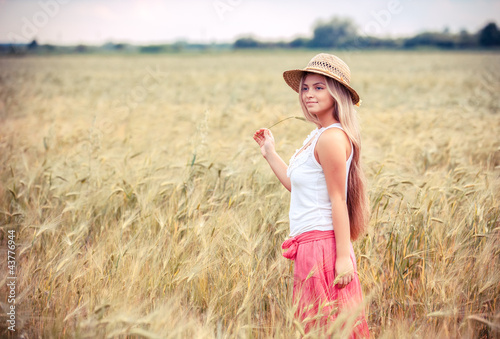 portrait of the rural girl in field
