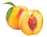 Fresh peaches isolated on white background