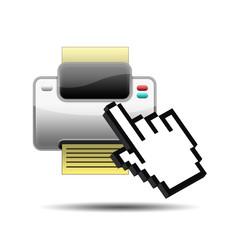 Icono impresora 3D con mano cursor