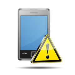 Icono smart phone 3D con señal atencion