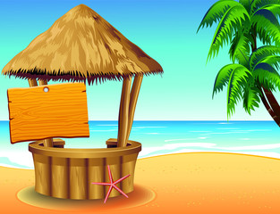 Bar Capanna sulla Spiaggia-Snack Bar on Tropical Beach-Vector